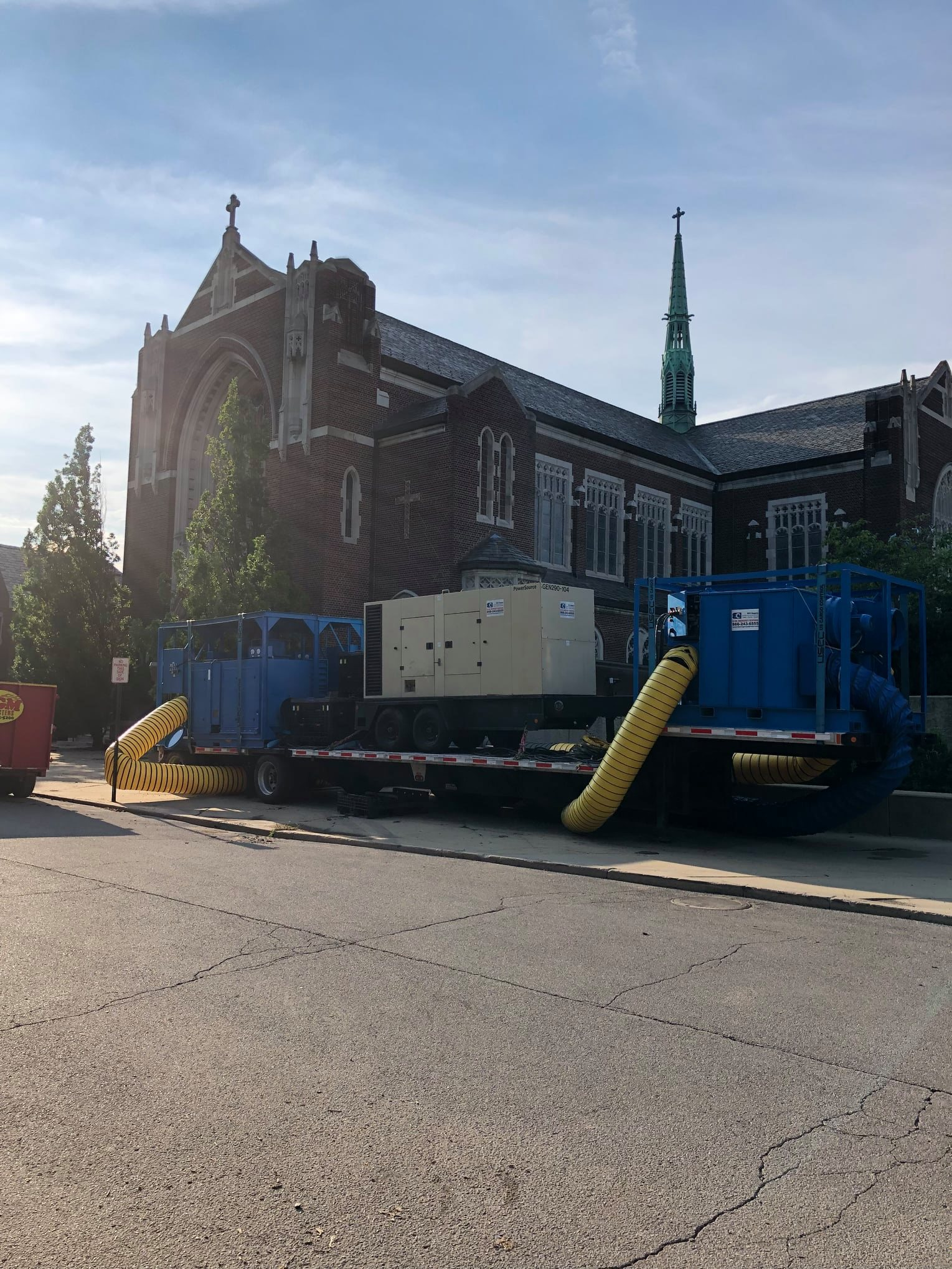 water damage work at a historical church